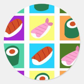 Art de bruit de sushi adhésifs ronds