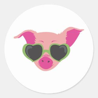 Art de bruit porcin autocollant rond