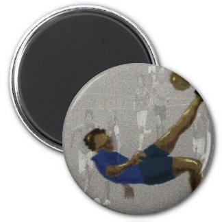 Art de coup-de-pied du football magnet rond 8 cm