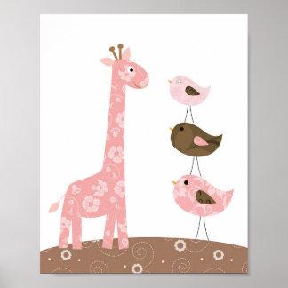 Art de crèche de girafe et d'oiseau poster