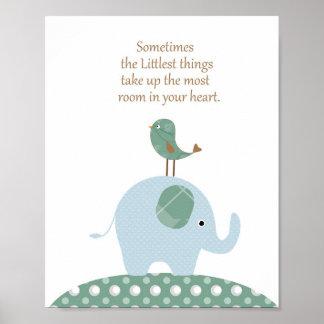 Art de crèche d'oiseau d'éléphant poster