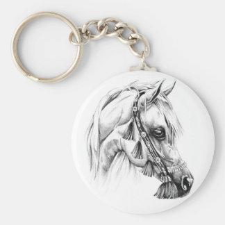 Art de croquis de dessin de cheval fait main porte-clé rond