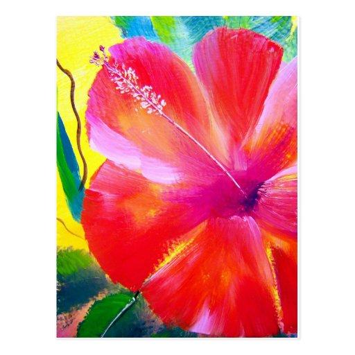 Art de fleur de ketmie carte postale