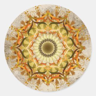 Art de fleur de Lotus de damassé de mandala Sticker Rond