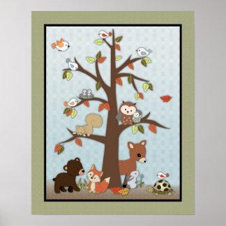 Art de mur d'amis de forêt affiche