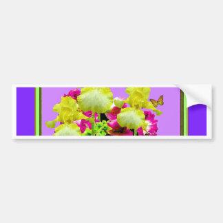 Art de pourpre d'iris jaune de papillons de autocollant de voiture