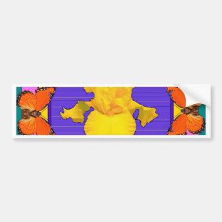Art de Pourpre-Teal d'iris jaune de papillons Autocollant De Voiture