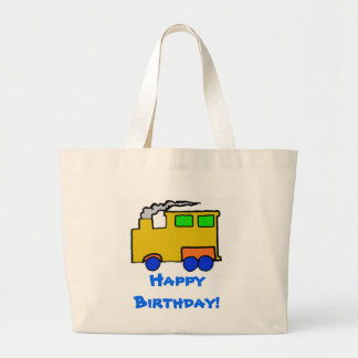 Art de train de garçon d'anniversaire sac en toile jumbo