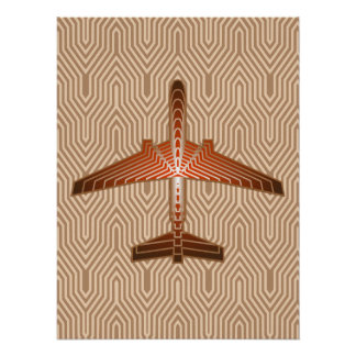 Art Deco Airplane, Bronze, Gold and Rust Brown Poster