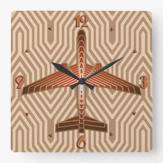Art Deco Airplane, Bronze, Gold and Rust Brown Square Wall Clock