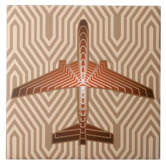 Art Deco Airplane, Bronze, Gold and Rust Brown Tile