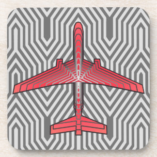 Art Deco Airplane, Coral Orange and Silver Gray Coaster