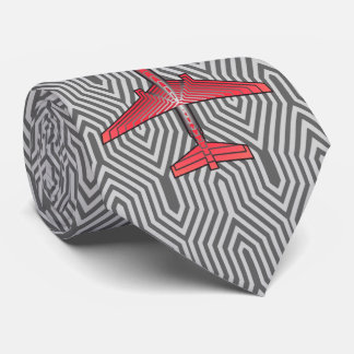 Art Deco Airplane, Coral Orange and Silver Gray Tie