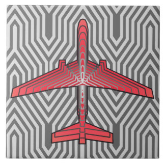 Art Deco Airplane, Coral Orange and Silver Gray Tile