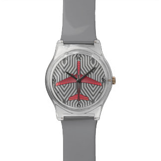 Art Deco Airplane, Coral Orange and Silver Gray Watch