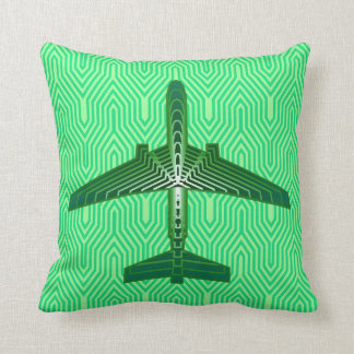 Art Deco Airplane, Emerald and Jade Green Throw Pillow