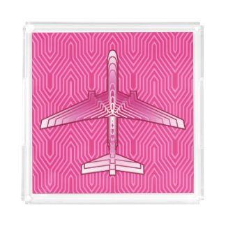 Art Deco Airplane, Fuchsia and Pastel Pink Acrylic Tray