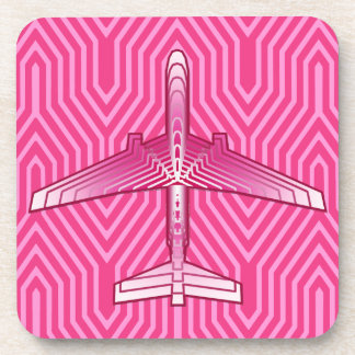 Art Deco Airplane, Fuchsia and Pastel Pink Coaster