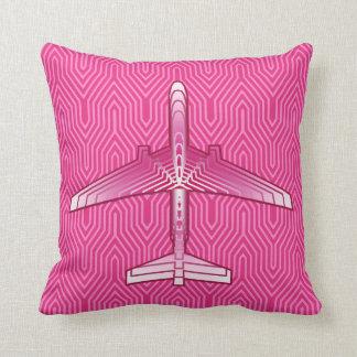 Art Deco Airplane, Fuchsia and Pastel Pink Throw Pillow