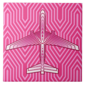 Art Deco Airplane, Fuchsia and Pastel Pink Tile