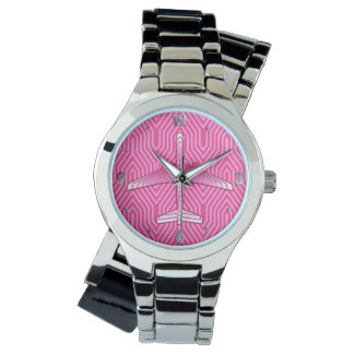 Art Deco Airplane, Fuchsia and Pastel Pink Watch