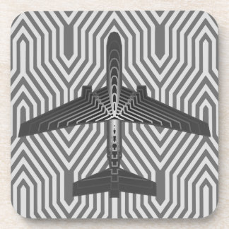 Art Deco Airplane, Graphite and Silver Gray Coaster