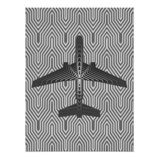 Art Deco Airplane, Graphite and Silver Gray Poster