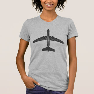 Art Deco Airplane, Graphite and Silver Gray T-Shirt