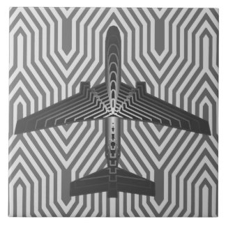 Art Deco Airplane, Graphite and Silver Gray Tile