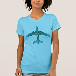 Art Deco Airplane, Turquoise, Teal and Aqua T-Shirt