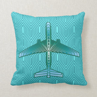 Art Deco Airplane, Turquoise, Teal and Aqua Throw Pillow
