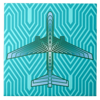 Art Deco Airplane, Turquoise, Teal and Aqua Tile