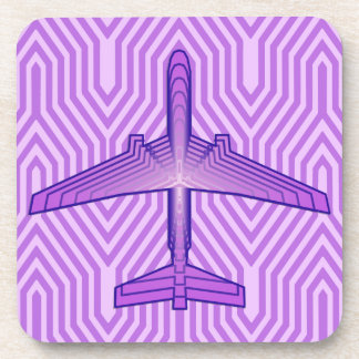 Art Deco Airplane, Violet Purple and Lavender Coaster