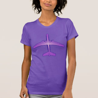 Art Deco Airplane, Violet Purple and Lavender T-Shirt