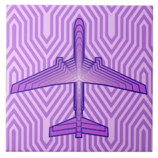 Art Deco Airplane, Violet Purple and Lavender Tile