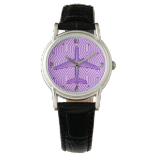 Art Deco Airplane, Violet Purple and Lavender Watch