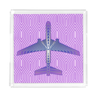 Art Deco Airplane, Violet Purple and Silver Gray Acrylic Tray