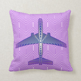 Art Deco Airplane, Violet Purple and Silver Gray Throw Pillow