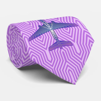 Art Deco Airplane, Violet Purple and Silver Gray Tie