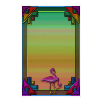 Art Deco and Flamingos Two Stationery