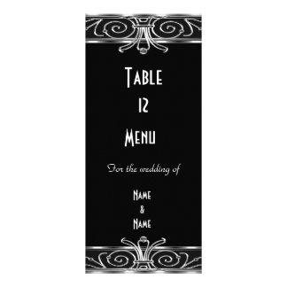 Art déco argenté noir élégant de carte de Tableau  Carte Double