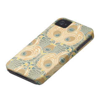 art deco art nouveau peacock pattern art iPhone 4 Case-Mate cases