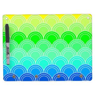 Art deco, art nouveau, vintage, shell,fan,pattern, dry erase board with keychain holder