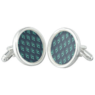 art deco, art nouveau, vintage,teal,green,blue,fan cuff links