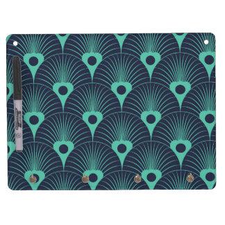 art deco, art nouveau, vintage,teal,green,blue,fan dry erase board with keychain holder