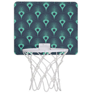 art deco, art nouveau, vintage,teal,green,blue,fan mini basketball hoop