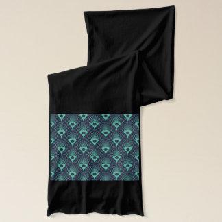 art deco, art nouveau, vintage,teal,green,blue,fan scarf