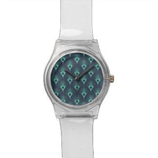 art deco, art nouveau, vintage,teal,green,blue,fan watch