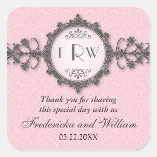 Art Deco Band Pink Wedding Sticker
