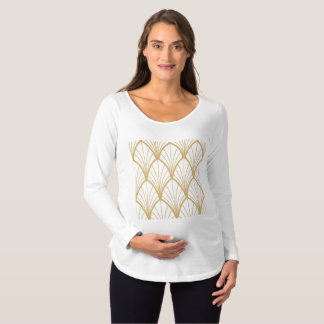 art deco, beautiful,fan pattern, gold,white,vintag maternity T-Shirt
